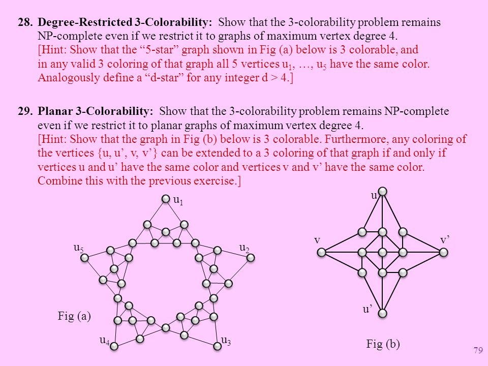 Degree-Restricted 3-Colorability: Show that the 3-colorability problem remains NP-complete even if we restrict it to graphs of maximum vertex degree 4. [Hint: Show that the 5-star graph shown in Fig (a) below is 3 colorable, and in any valid 3 coloring of that graph all 5 vertices u1, …, u5 have the same color. Analogously define a d-star for any integer d > 4.]
